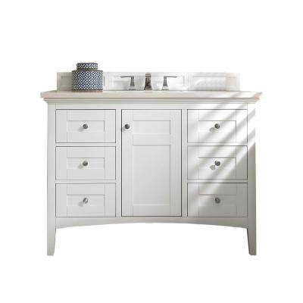Palisades 48 in. W Single Vanity in Bright White with Marble Vanity Top in Carrara White with White Basin