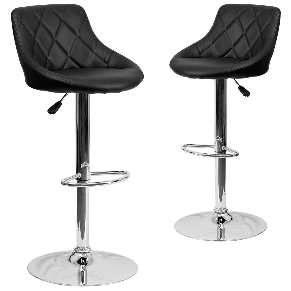 Carnegy Avenue 32 in. Black Bar stool (Set of 2) CGA-CH-18676-BL-HD