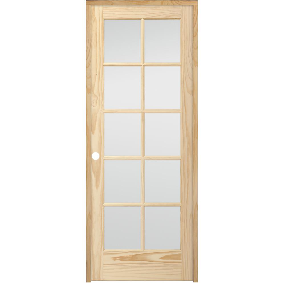 10 Lite French Unfinished Pine Right Hand Solid Core Wood Single Prehung Interior Door With Nickel Hinge