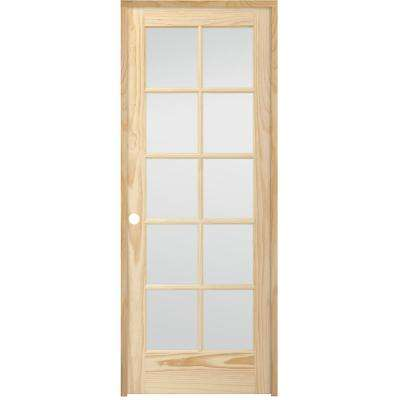 36 in. x 80 in. 10-Lite French Unfinished Pine Right Hand Solid Core Wood Single Prehung Interior Door with Nickel Hinge