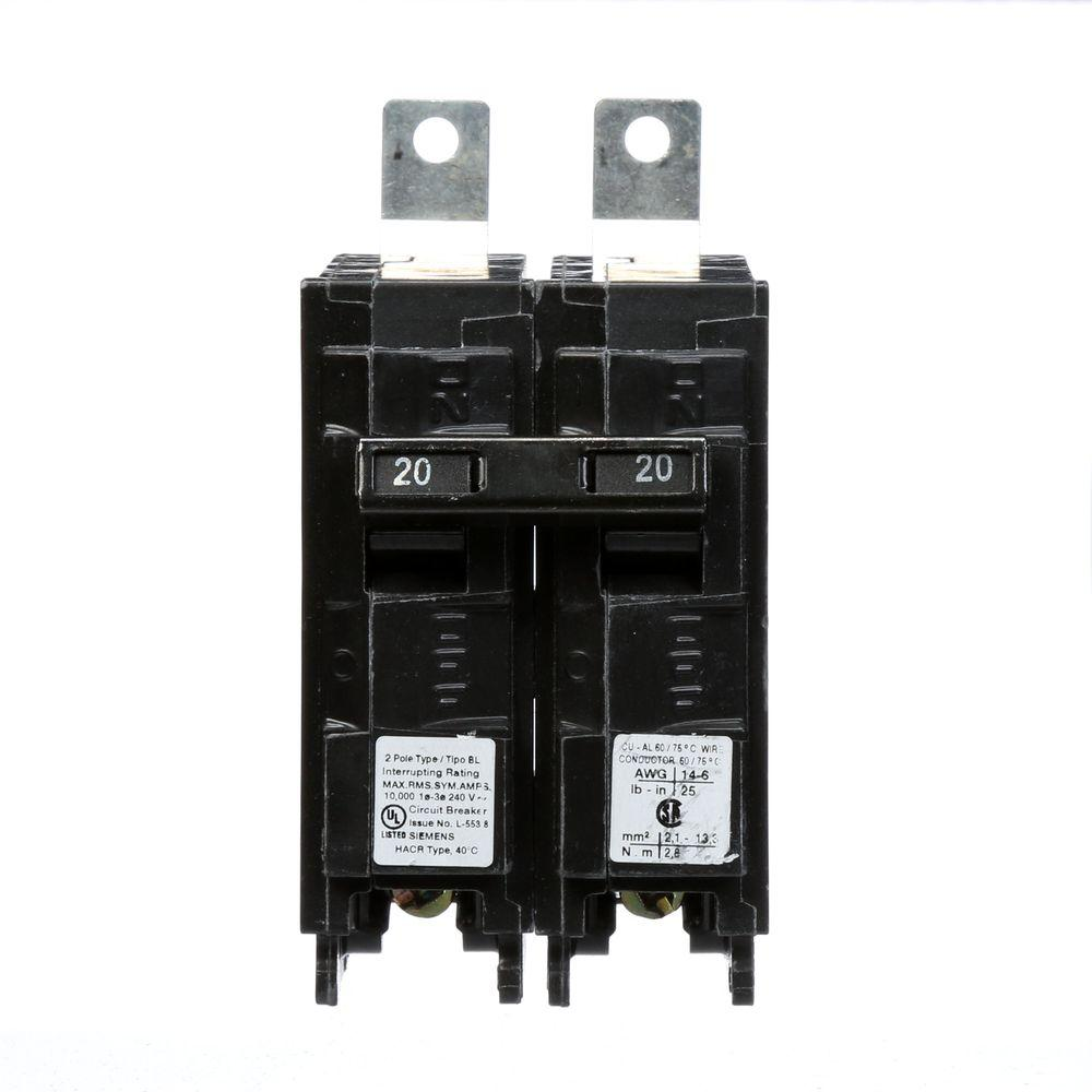 Siemens 20 Amp Double Pole Type Bl 240v 10 Ka Bolt On