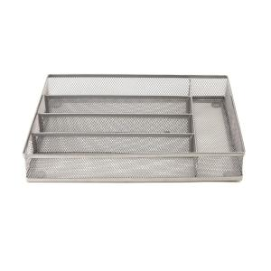 Mind Reader Silver Mesh 5 Section Cutlery Tray Drawer