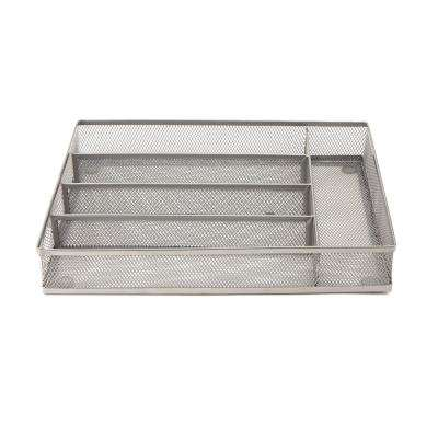 Silver Mesh 5-Section Cutlery Tray Drawer Organizer (2-Pack)