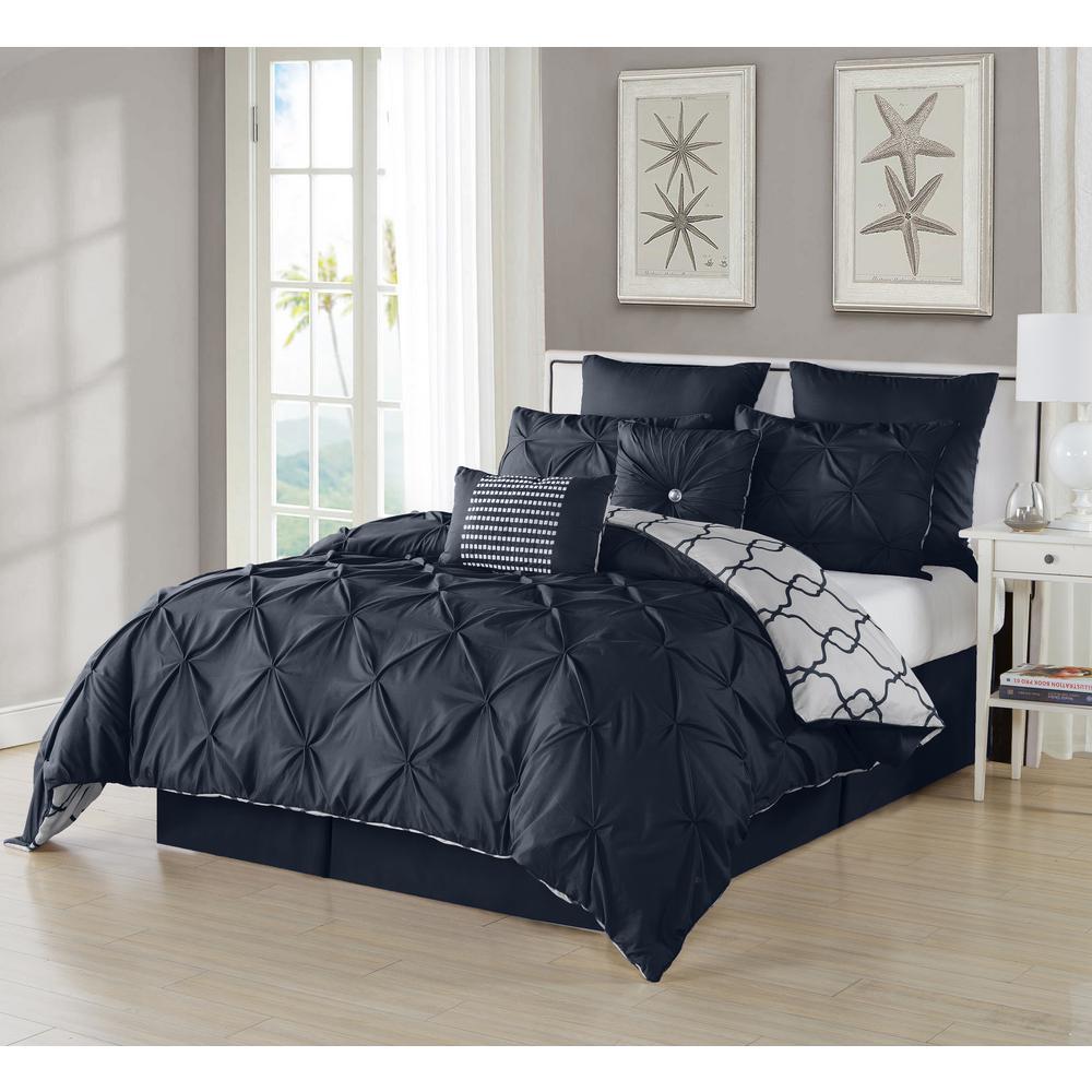 Esy Pintuck Reversible Navy 8-Piece Queen Comforter Set