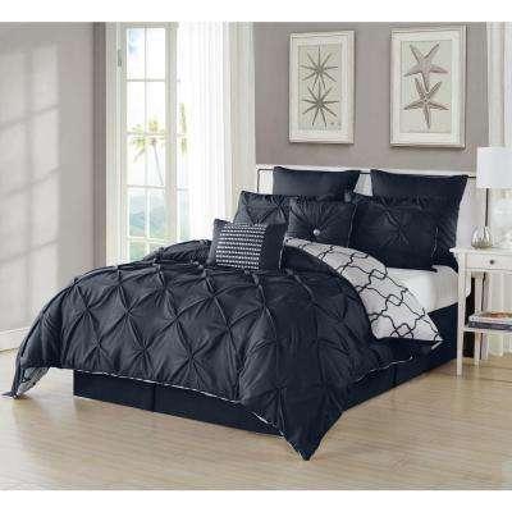 Esy Pintuck Reversible Navy 8-Piece King Comforter Set