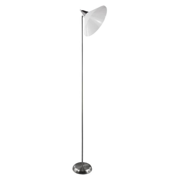 71 in. Silver Metal with White PP Shade Lamp Shade Shelf Floor Lamp