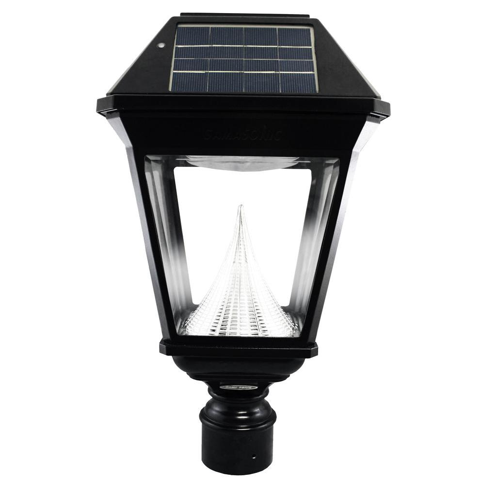 Gama Sonic Imperial Ii Solar Black Outdoor Integrated Led Post Light On 3 In Fitter With 21 Bright White Leds Gs 97nf The Home Depot
