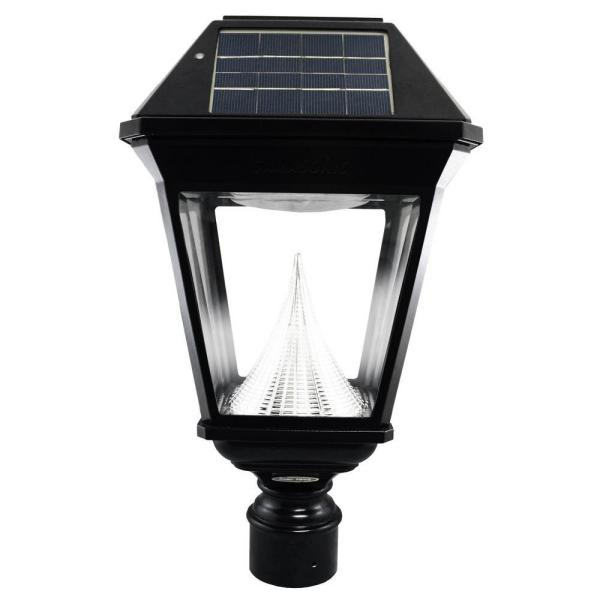 Imperial II Solar Black Outdoor Integrated LED Post Light on 3 in. Fitter with 21 Bright White LEDs