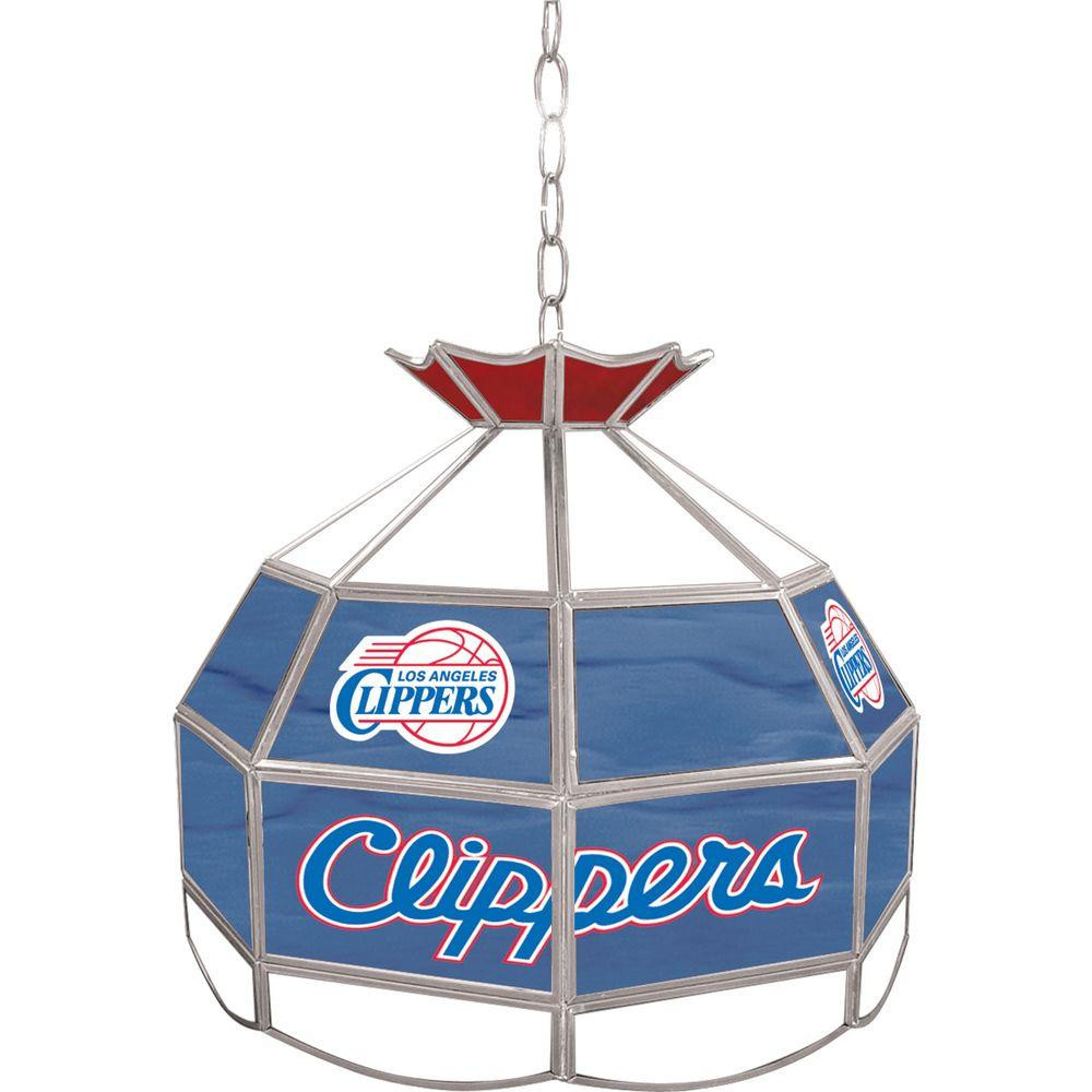 Los Angeles Clippers NBA 16 in. Nickel Hanging Tiffany Style Lamp