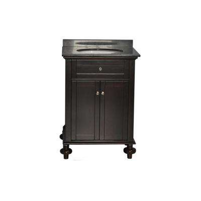 Huntington 31 in. W x 22 in. D Vanity in Espresso with Granite Vanity Top in Absolute Black and White Basin