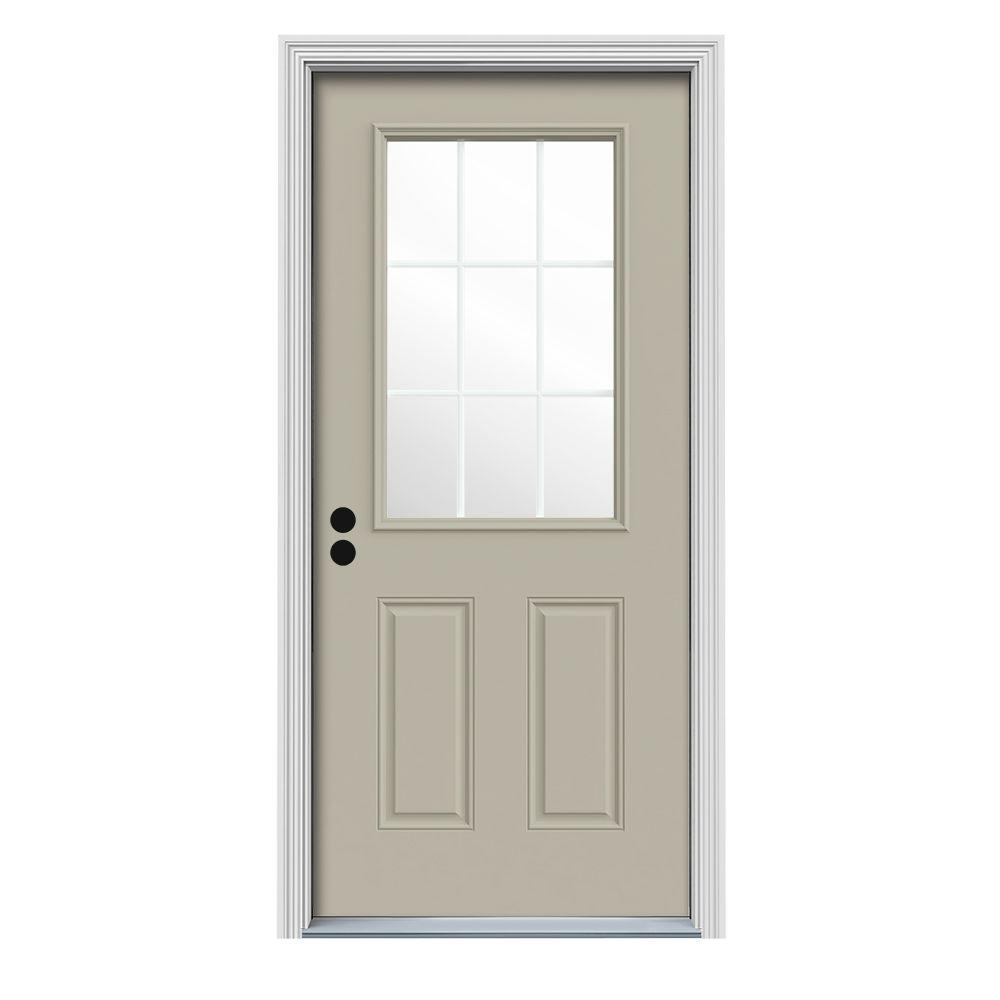 Jeld wen 36 in x 80 in 9 lite desert sand painted steel prehung right hand inswing front door - Painting a steel exterior door model ...