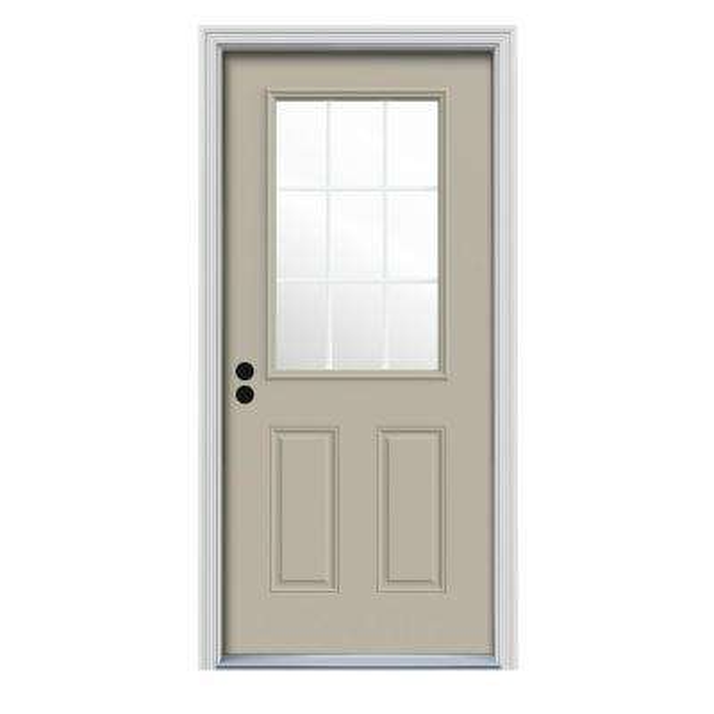 36 in. x 80 in. 9 Lite Desert Sand Painted Steel Prehung Right-Hand Inswing Front Door w/Brickmould