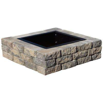 SplitRock 38.5 in. W x 10.5 in. H Square Fire Pit Kit in Charcoal/Tan