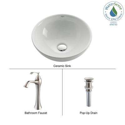 Soft Round Ceramic Vessel Sink in White with Ventus Faucet in Brushed Nickel