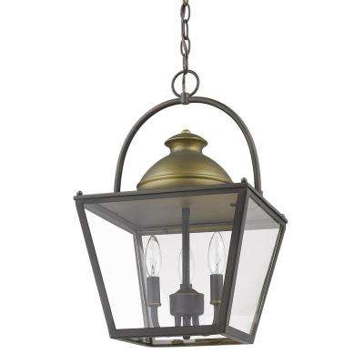 Savannah 3-Light Oil-Rubbed Bronze Foyer Pendant with Raw Brass Accents and Clear Glass Panes