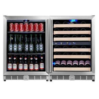 3 Zone 46.84 in. 46-Bottle 160 (12 oz.) Combo Beverage Can and Wine Cooler