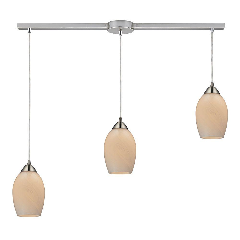 Favela 3-Light Satin Nickel Ceiling Mount Pendant