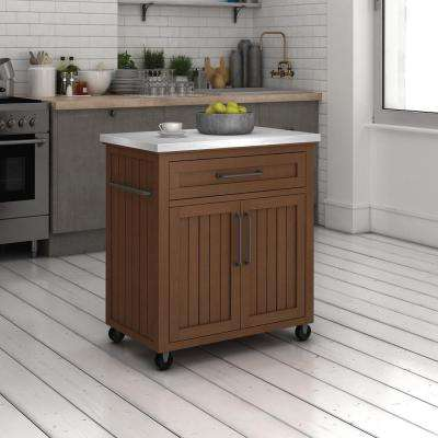 Madeleine Embossing Oak Kitchen Cart