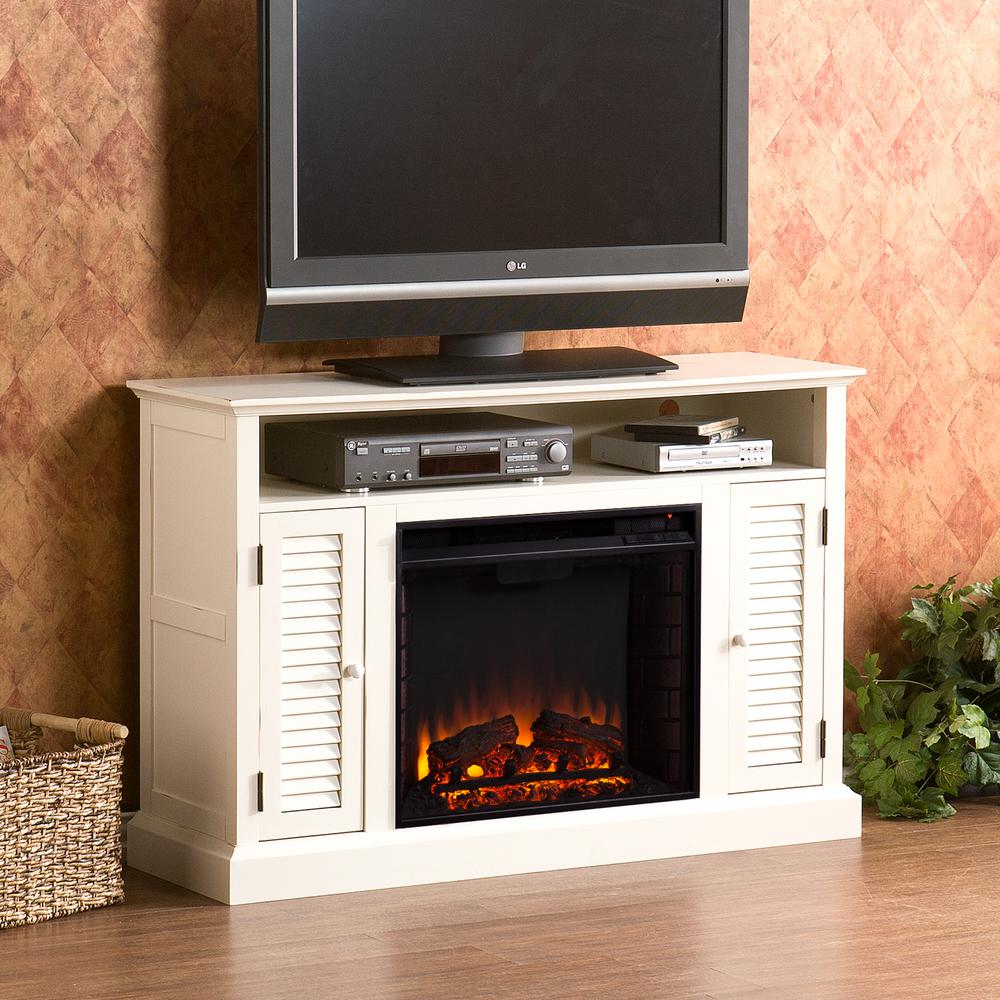 Ontario 48 in. W Media Electric Fireplace in Antique White