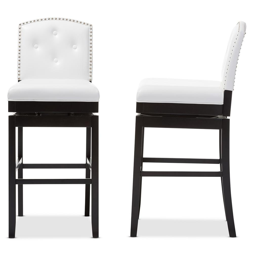 baxton studio ginaro white faux leather upholstered 2 piece bar stool set 2pc 6751 hd the home. Black Bedroom Furniture Sets. Home Design Ideas