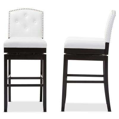 Ginaro White Faux Leather Upholstered 2-Piece Bar Stool Set