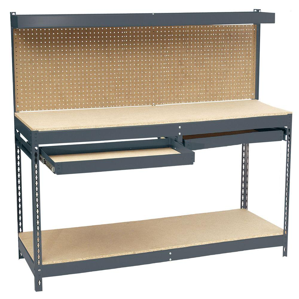 Edsal 60 In H X 72 In W X 24 In D Steel Workbench With Pegboard And Drawer Storage Mrwb 6