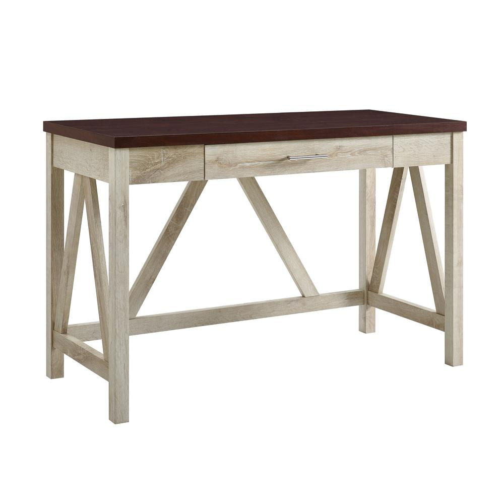 46 in. White Oak Base and Traditional Brown Top A-Frame Desk ...