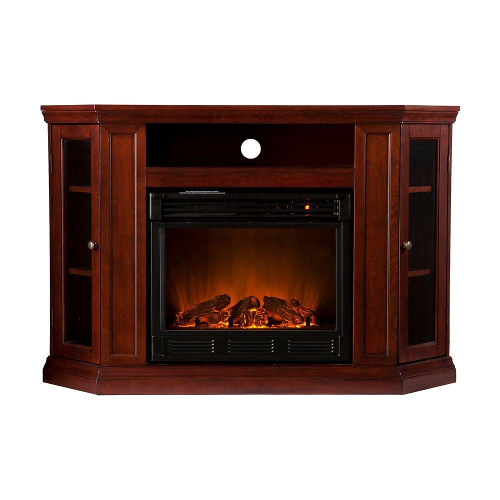 Southern Enterprises Claremont 48 in. Convertible Media Console Electric Fireplace in Cherry