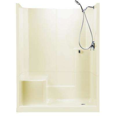 60 in. x 33 in. x 77 in. Standard 3-Piece Low Threshold Shower Stall in Biscuit LHS Molded Seat Shower Kit Right Drain
