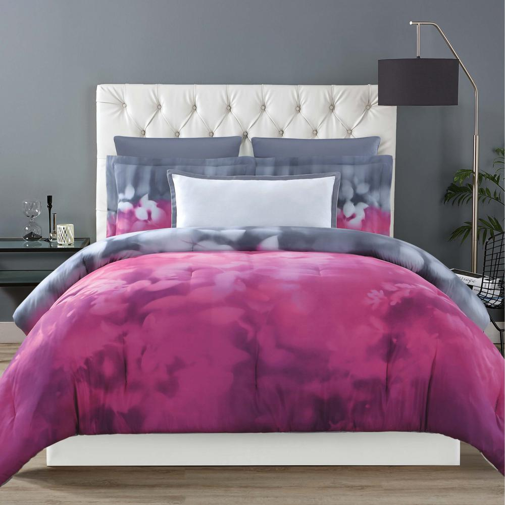 Botanical Ombre King Duvet with Pillow Shams, Magenta And...