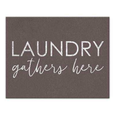 "11 in. x 14 in. ""Laundry Gathers Here"" Printed Canvas Wall Art"