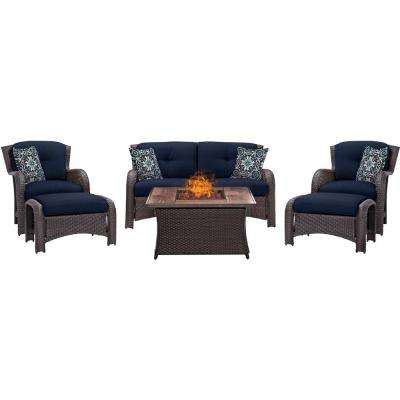 Strathmere 6-Piece Woven Patio Seating Set with Wood Grain-Top Fire Pit with Navy Blue Cushions