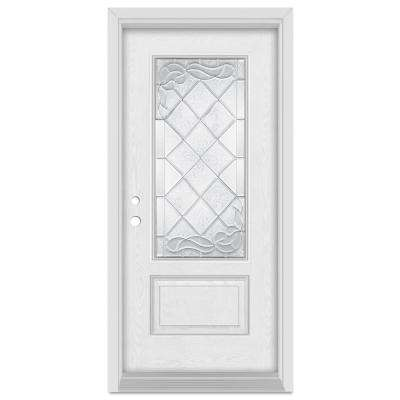 37.375 in. x 83 in. Art Deco Right-Hand Inswing 3/4 Lite Zinc Finished Fiberglass Oak Woodgrain Prehung Front Door