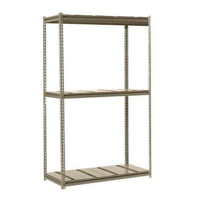 84 in. H x 48 in. W x 24 in. D 3-Shelf Heavy Load Steel Shelving Unit-Tan