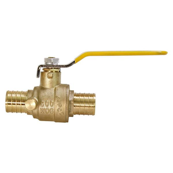3/4 in. Full Port PEX Barb Ball Valve Water Shut Off with Drain