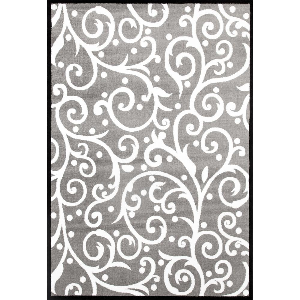 Modern Scroll Gray/White 2 ft. x 3 ft. Area Rug-117 WhtGry 2x3 - The ...