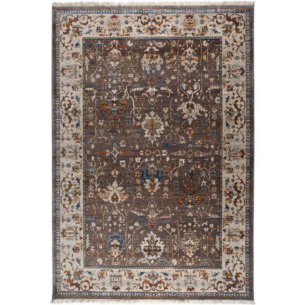 Home Dynamix Rutherford Brown, Ivory Borders 5 Ft. X 8 Ft