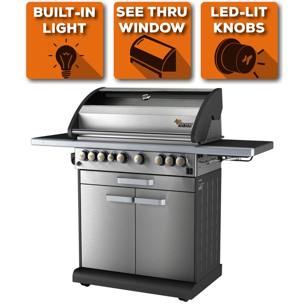 6-Burner Liquid Propane Fingerprint Resistant Grill with Warming Drawer &