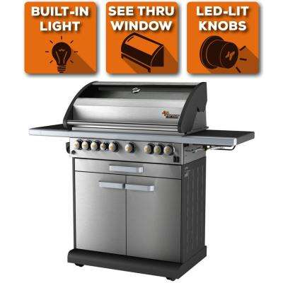 6-Burner Liquid Propane Fingerprint Resistant Grill with Warming Drawer & Side Burner in Stainless Steel, 10 Yr Warranty