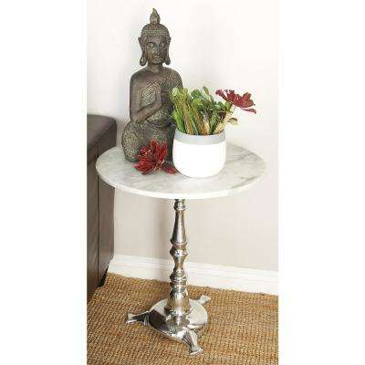White Marble Round Accent Table with Silver Triangular-Footed Pedestal Stand