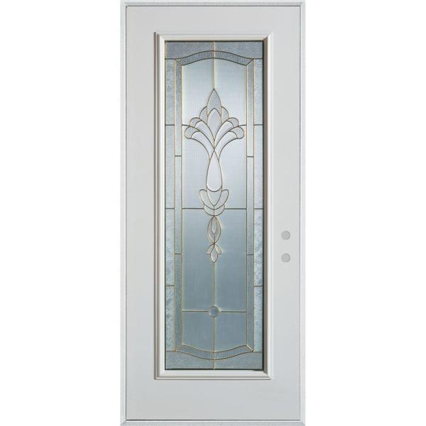32 in. x 80 in. Traditional Brass Full Lite Painted White Left-Hand Inswing Steel Prehung Front Door