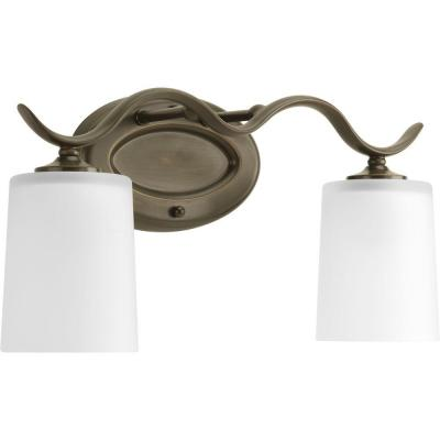 Inspire 2-Light Antique Bronze Bathroom Vanity Light with Glass Shades
