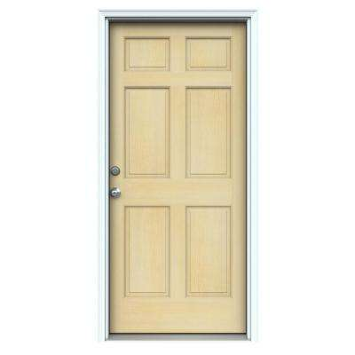 6-Panel Unfinished Hemlock Prehung Front Door with Primed White AuraLast Jamb and Brickmold