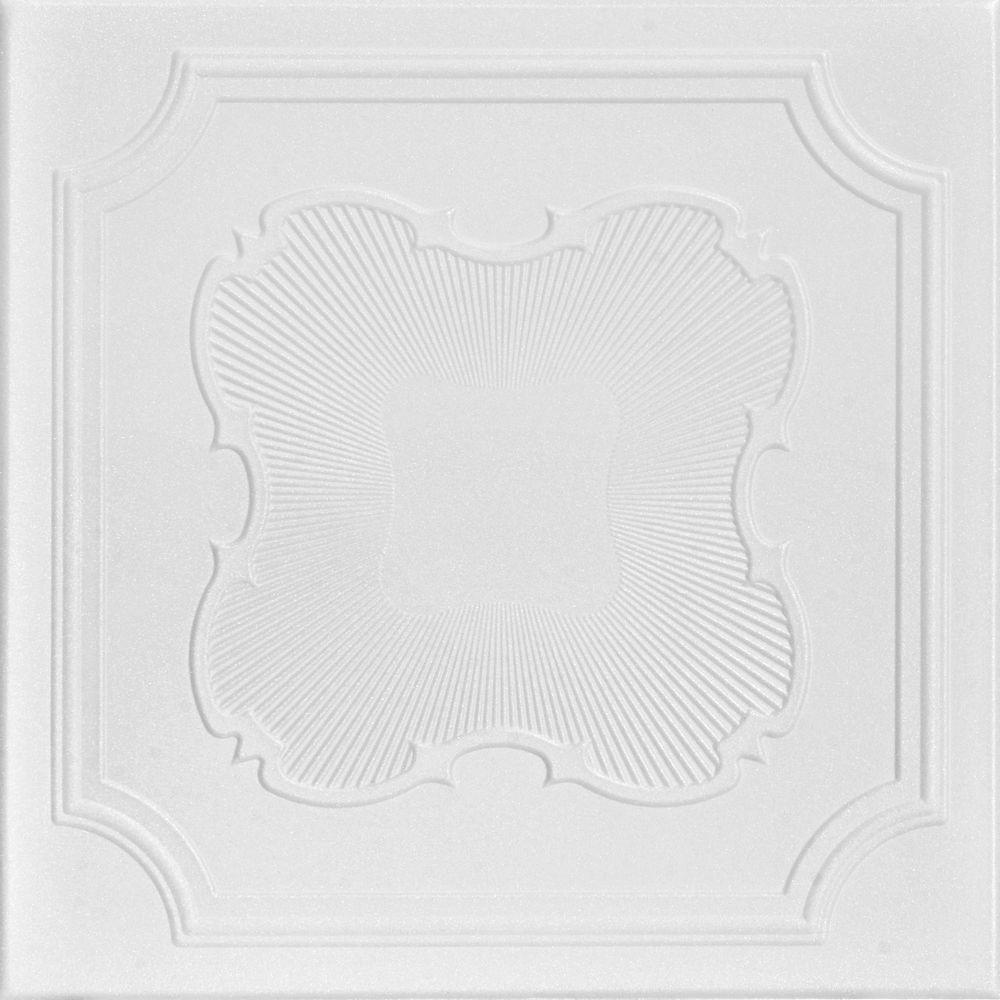 A La Maison Ceilings Coronado 1.6 ft. x 1.6 ft. Foam Glue-up Ceiling Tile in Plain White (21.6 sq. ft. / case)