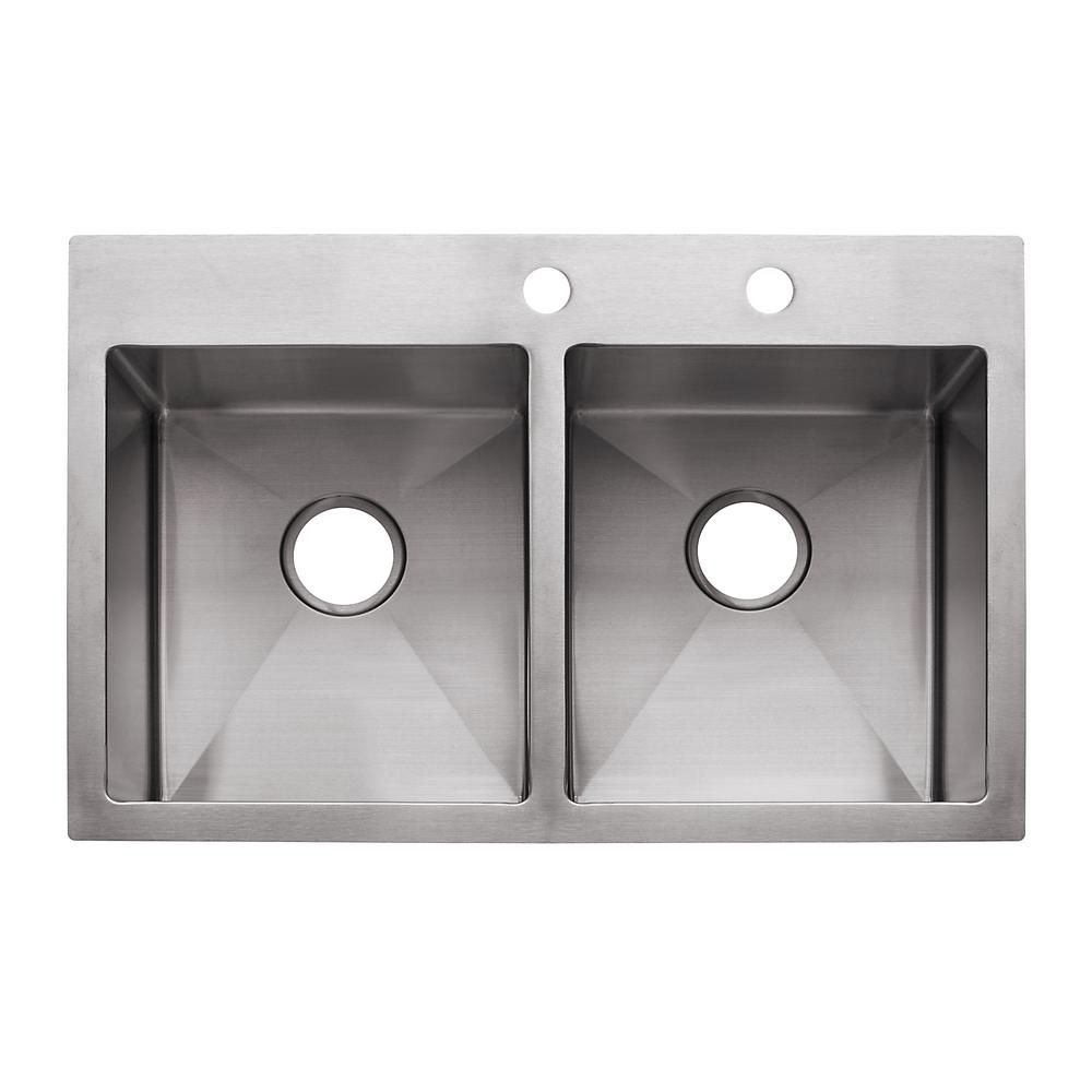 Franke Vector Drop In Undermount Stainless Steel 33 5 2 Hole Double