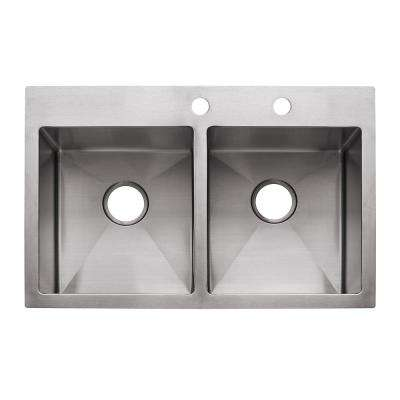 Vector Drop-In/Undermount Stainless Steel 33.5 in. 2-Hole Double Bowl Kitchen Sink