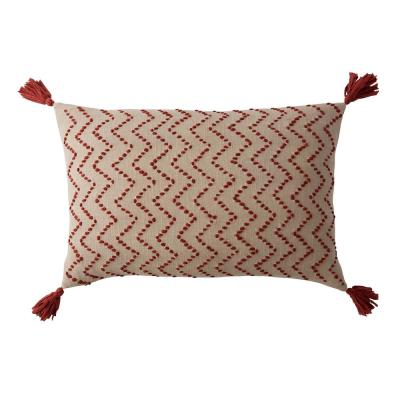 Embroidered Red Chevron 16 in. x 20 in. Decorative Throw Pillow Cover
