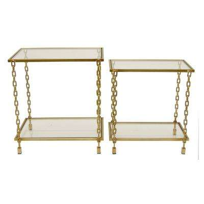 20 in. x 13 in. Gold Decorative Glass Tables with Gold Metal Base (Set of 2)