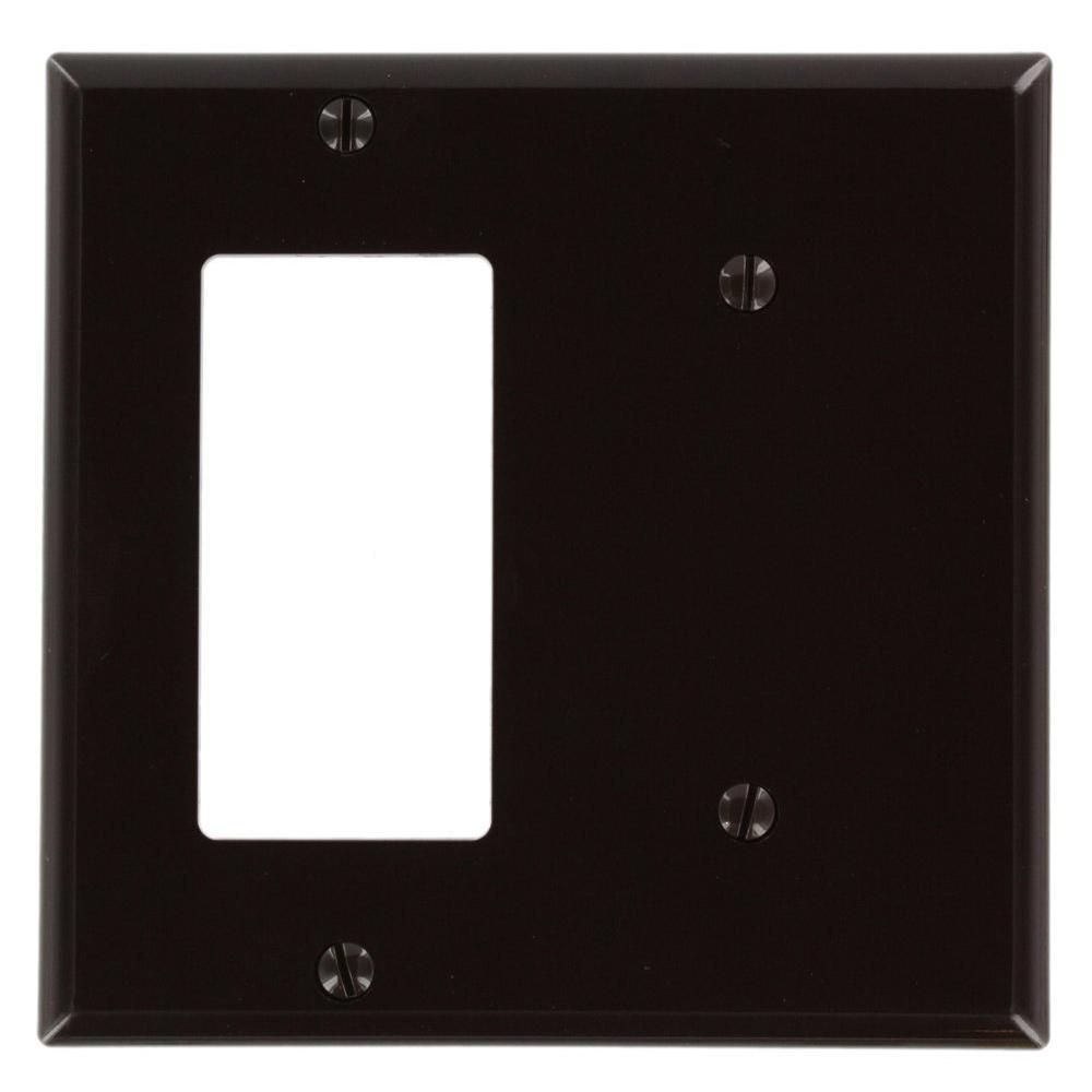 2-Gang Standard Size 1 No Device Blank 1-Decora Nylon Wallplate, Brown