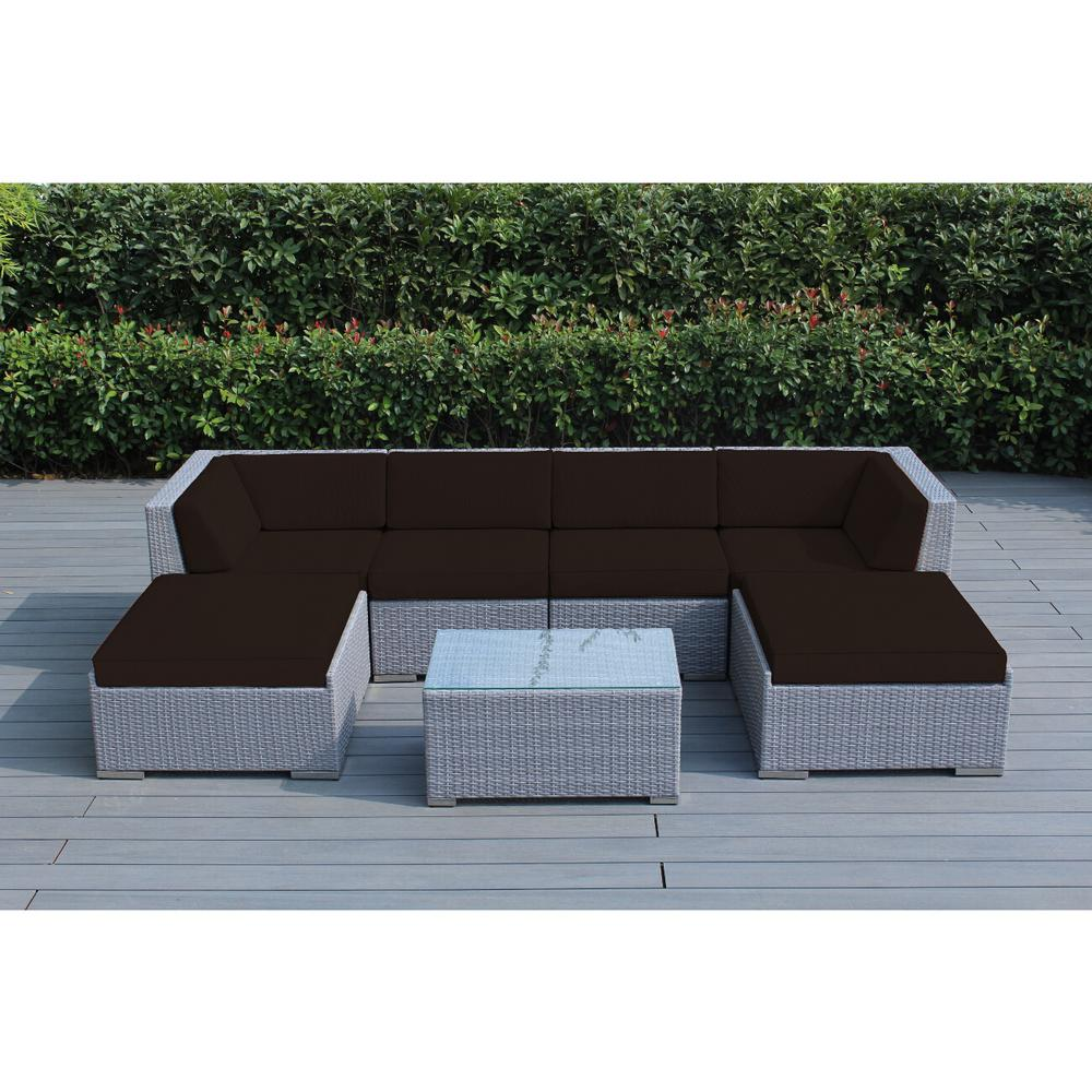 Ohana Depot Gray 7-Piece Wicker Patio Seating Set with Sunbrella Bay Brown Cushions